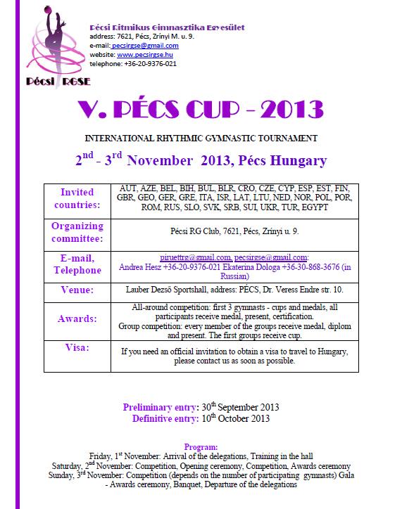 V. Pécs Cup invitation